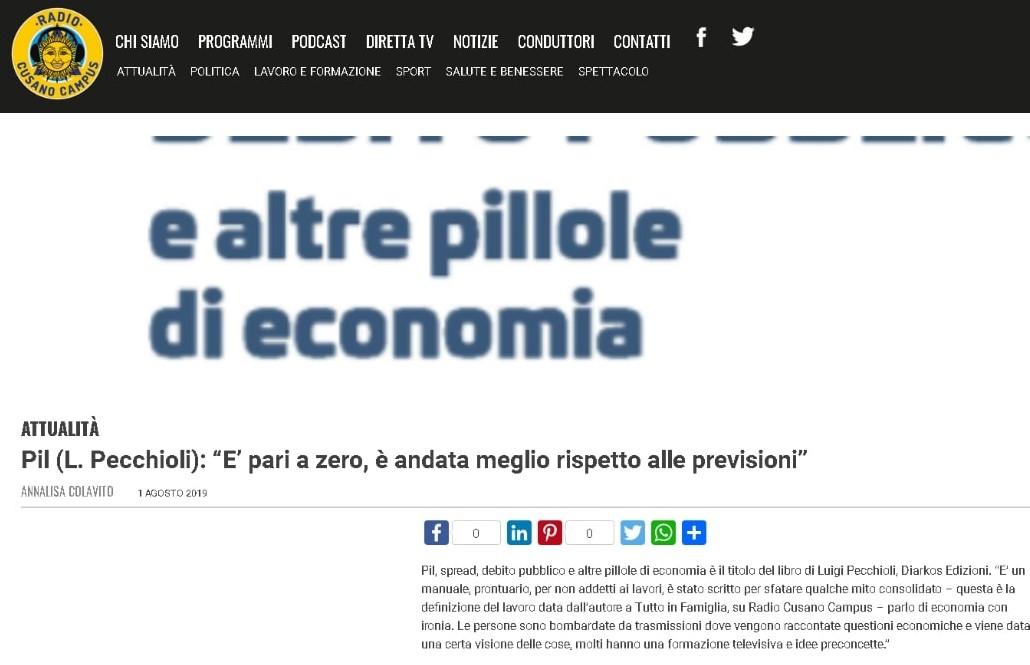Intervista All Autore Di Pil Spread Debito Pubblico E Altre Pillole Di Economia Su Radio Cusano Campus Diarkos